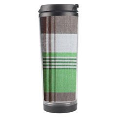 Plaid Fabric Texture Brown And Green Travel Tumbler by BangZart