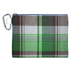 Plaid Fabric Texture Brown And Green Canvas Cosmetic Bag (xxl) by BangZart