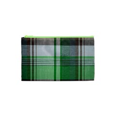 Plaid Fabric Texture Brown And Green Cosmetic Bag (xs) by BangZart
