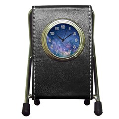 Galaxy Nebula Astro Stars Space Pen Holder Desk Clocks by paulaoliveiradesign