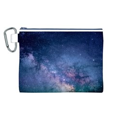 Galaxy Nebula Astro Stars Space Canvas Cosmetic Bag (l) by paulaoliveiradesign