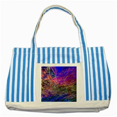 Poetic Cosmos Of The Breath Striped Blue Tote Bag by BangZart