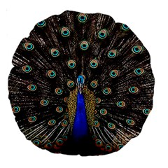 Peacock Large 18  Premium Round Cushions by BangZart