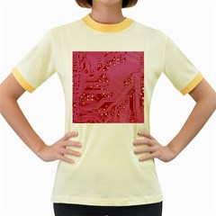 Pink Circuit Pattern Women s Fitted Ringer T Shirts by BangZart