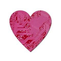 Pink Circuit Pattern Heart Magnet by BangZart