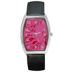 Pink Circuit Pattern Barrel Style Metal Watch by BangZart