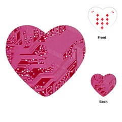 Pink Circuit Pattern Playing Cards (heart)  by BangZart