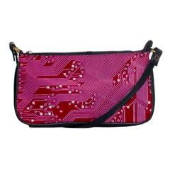 Pink Circuit Pattern Shoulder Clutch Bags by BangZart