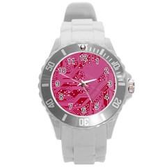 Pink Circuit Pattern Round Plastic Sport Watch (l) by BangZart