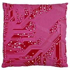 Pink Circuit Pattern Large Cushion Case (two Sides) by BangZart