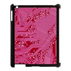 Pink Circuit Pattern Apple Ipad 3/4 Case (black) by BangZart