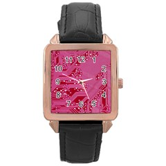 Pink Circuit Pattern Rose Gold Leather Watch  by BangZart