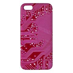 Pink Circuit Pattern Iphone 5s/ Se Premium Hardshell Case by BangZart