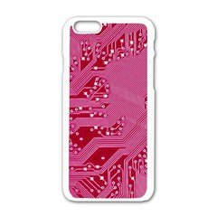 Pink Circuit Pattern Apple Iphone 6/6s White Enamel Case by BangZart