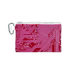Pink Circuit Pattern Canvas Cosmetic Bag (s) by BangZart