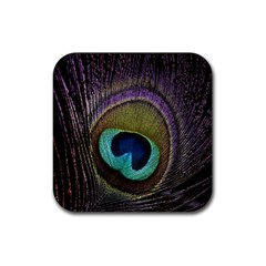 Peacock Feather Rubber Square Coaster (4 Pack)  by BangZart