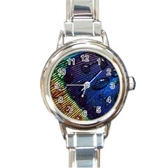 Peacock Feather Retina Mac Round Italian Charm Watch by BangZart