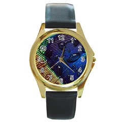 Peacock Feather Retina Mac Round Gold Metal Watch by BangZart
