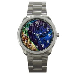 Peacock Feather Retina Mac Sport Metal Watch by BangZart