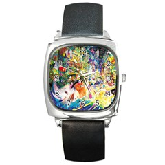 Multicolor Anime Colors Colorful Square Metal Watch by BangZart