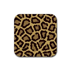 Leopard Rubber Square Coaster (4 Pack)  by BangZart