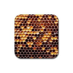 Honey Honeycomb Pattern Rubber Coaster (square)  by BangZart