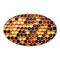 Honey Honeycomb Pattern Oval Magnet by BangZart
