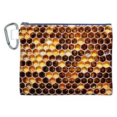 Honey Honeycomb Pattern Canvas Cosmetic Bag (xxl) by BangZart
