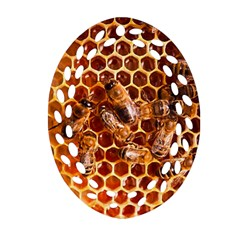 Honey Bees Oval Filigree Ornament (two Sides) by BangZart
