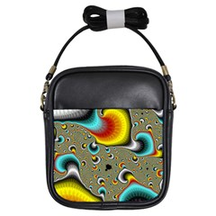 Fractals Random Bluray Girls Sling Bags by BangZart