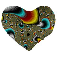Fractals Random Bluray Large 19  Premium Flano Heart Shape Cushions by BangZart