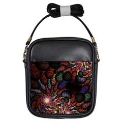 Fractal Swirls Girls Sling Bags by BangZart