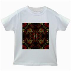 Fractal Kaleidoscope Kids White T Shirts by BangZart