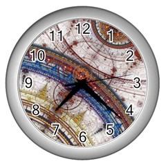 Fractal Circles Wall Clocks (silver)  by BangZart