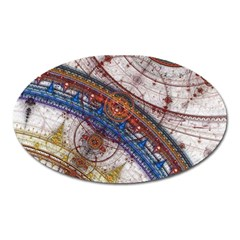 Fractal Circles Oval Magnet by BangZart