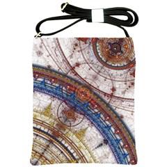 Fractal Circles Shoulder Sling Bags by BangZart