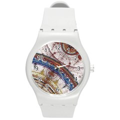 Fractal Circles Round Plastic Sport Watch (m) by BangZart