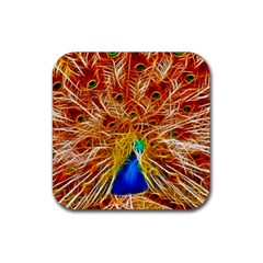 Fractal Peacock Art Rubber Square Coaster (4 Pack)  by BangZart