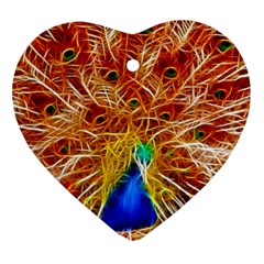 Fractal Peacock Art Heart Ornament (two Sides) by BangZart