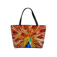 Fractal Peacock Art Shoulder Handbags