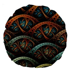 Fractal Art Pattern Flower Art Background Clored Large 18  Premium Round Cushions by BangZart