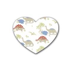 Dinosaur Art Pattern Heart Coaster (4 Pack)  by BangZart