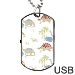 Dinosaur Art Pattern Dog Tag Usb Flash (two Sides) by BangZart
