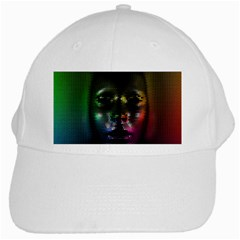 Digital Art Psychedelic Face Skull Color White Cap by BangZart