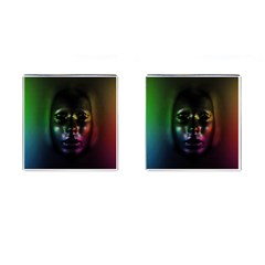 Digital Art Psychedelic Face Skull Color Cufflinks (square) by BangZart