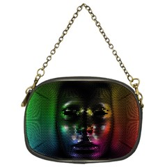 Digital Art Psychedelic Face Skull Color Chain Purses (one Side)  by BangZart