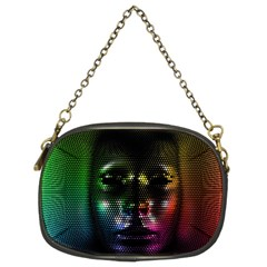 Digital Art Psychedelic Face Skull Color Chain Purses (two Sides)  by BangZart