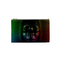 Digital Art Psychedelic Face Skull Color Cosmetic Bag (small)  by BangZart