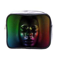 Digital Art Psychedelic Face Skull Color Mini Toiletries Bags by BangZart