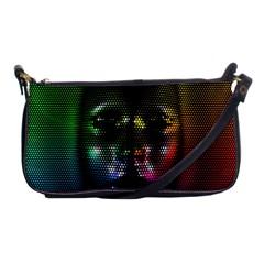 Digital Art Psychedelic Face Skull Color Shoulder Clutch Bags by BangZart